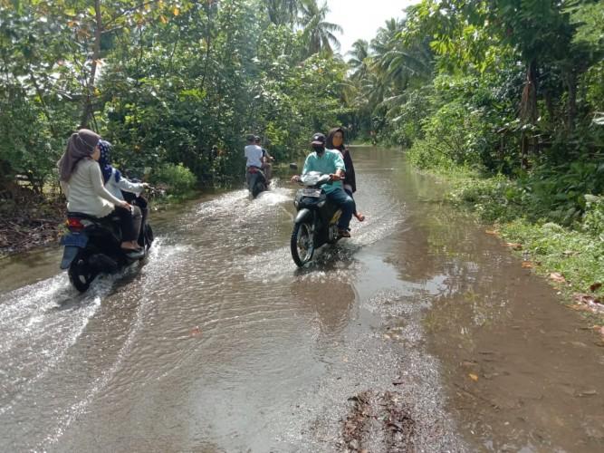 Hujan Deras Sebabkan Genangan Air di Pekon Walur