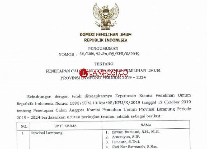 Ini Tujuh Anggota KPU Lampung Terpilih Periode 2019-2024