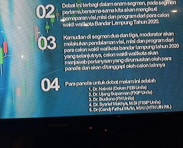 Inilah Lima Panelis Debat Kandidat II Calon Wakil Wali Kota Bandar Lampung
