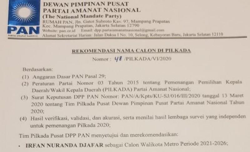 PAN Restui Irfan Nuranda Maju Calon Wali Kota Metro