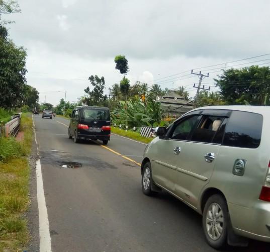 Jalan Berlubang di Lamsel Rawan Lakalantas