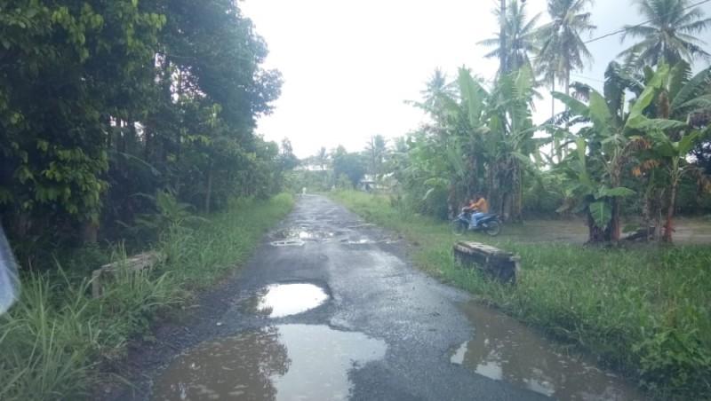 Jalan Palasaji-Bumidaya Dipenuhi Kubangan Usai Diguyur Hujan