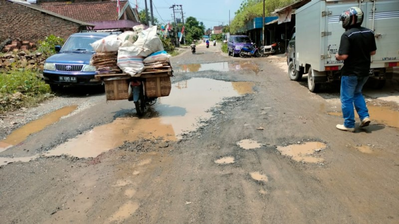 Jalan Penghubung Enam Desa di Lamsel Rusak Berat