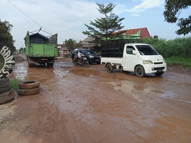 Jalan Provinsi Penghubung Empat Daerah di Metro Rusak Parah