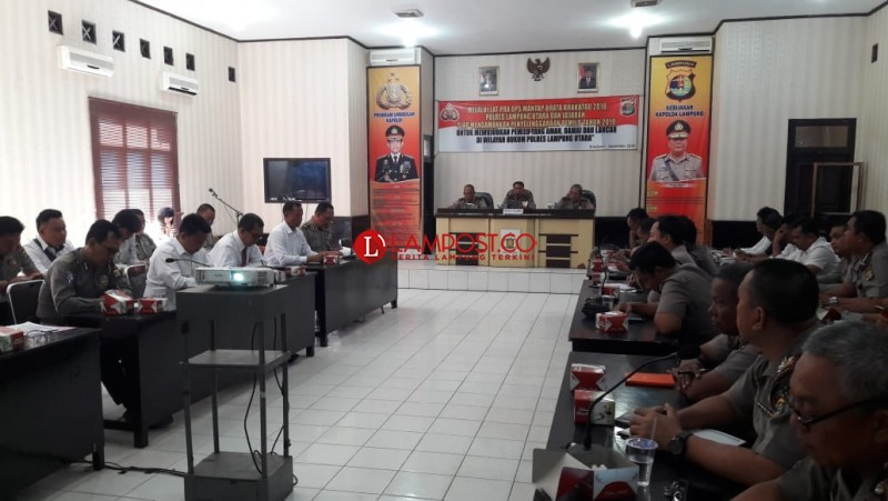 Jelang Pemilu 2019, Polres Lampung Utara Gelar Latpraops Mantap Brata Krakatau