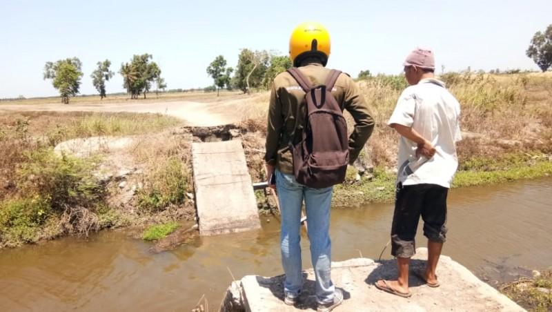Jembatan SPP Pulautengah Ambrol, Akses Petani ke Sawah Terputus