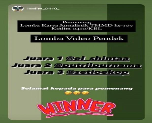 Jurnalis <i>Metro TV Lampung</i> Juara II Video Pendek TMMD Kodim 0410/KBL