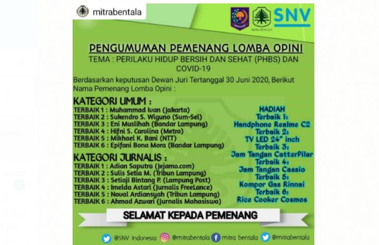 Jurnalis Lampung Post Raih Juara III Kompetisi Menulis Opini