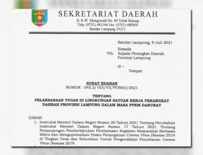 Kantor Dinas di Pemprov Lampung Terapkan WFH 100%