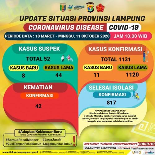 Kasus Covid-19 di Lampung Bertambah 11
