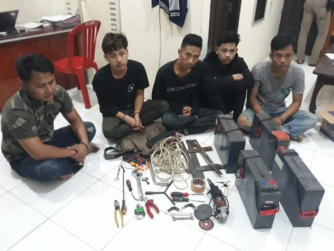 Kawanan Pencuri Aki Menara asal Bandar Lampung Ditangkap di Kalianda