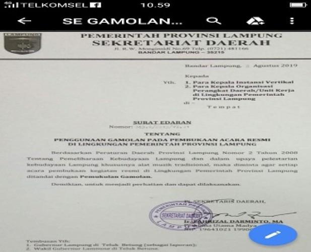 Kerajaan Adat Paksi Pak Skala Bkhak Apresiasi Pemprov Lestarikan Budaya Lampung