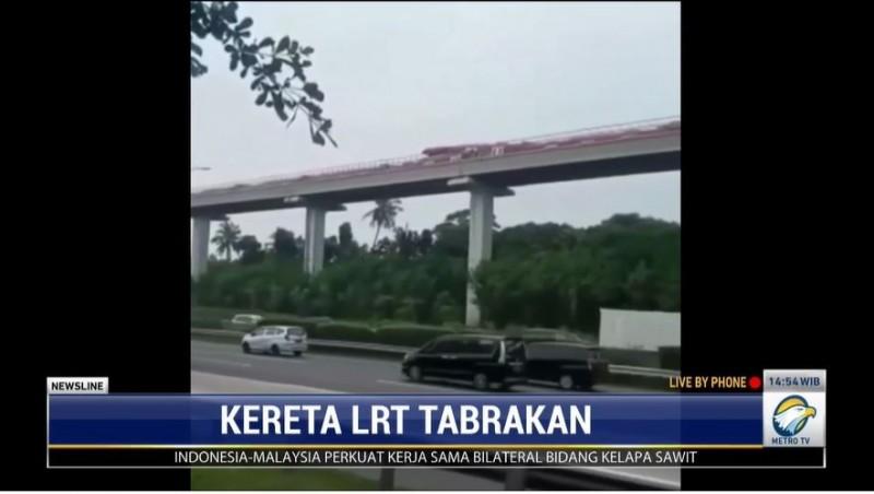 Kereta LRT Jabodetabek Tabrakan