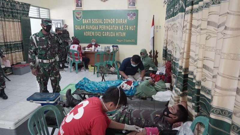 Kodim Tulangbawang Donasikan 32 Kantong Darah kepada PMI