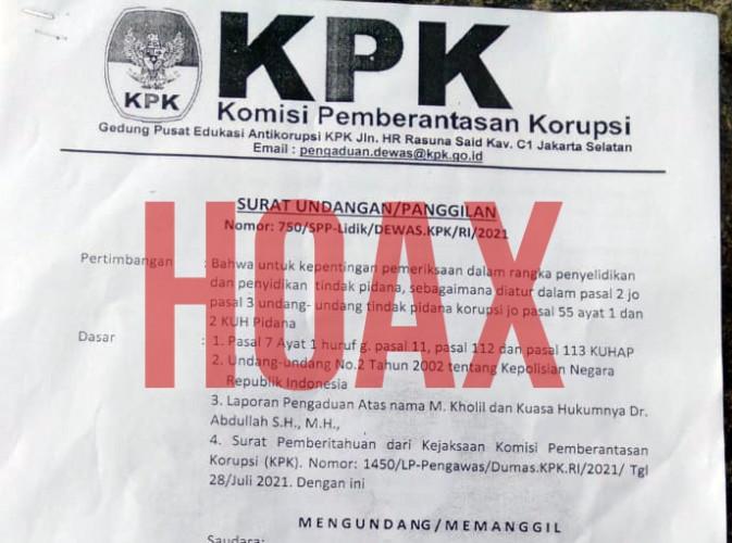 KPK Pastikan Surat Panggilan Tiga Anggota DPRD Pesisir Barat Hoaks