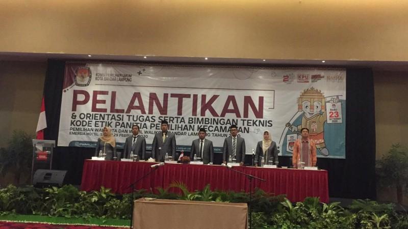 KPU Bandar Lampung Lantik 100 PPK Terpilih