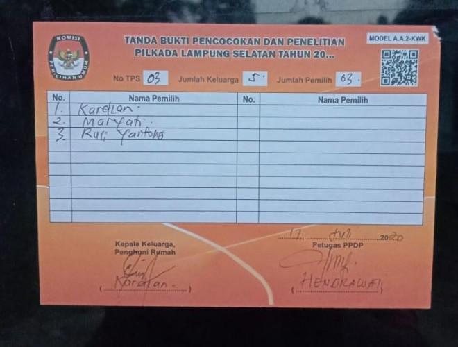 KPU Lamsel Kekurangan Stiker Model A.A.2-KWK