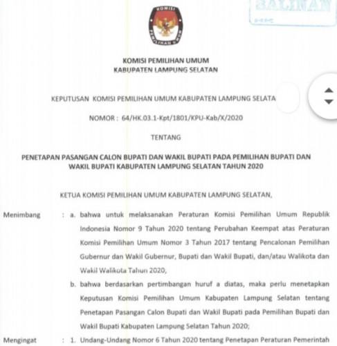 KPU Resmi Tetapkan Tony Eka-Antoni Peserta Pilkada Lamsel