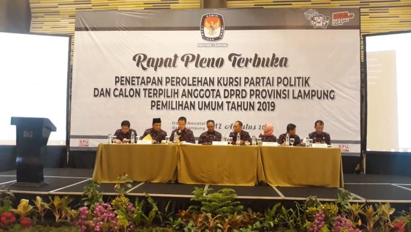 KPU Tetapkan 85 Anggota DPRD Provinsi Lampung Terpilih