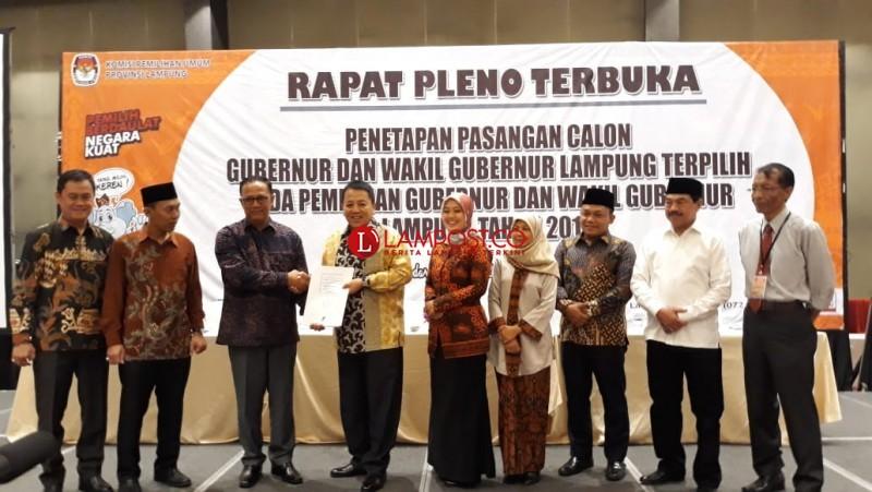 KPU Tetapkan Arinal - Nunik Gubernur dan Wakil Gubernur Lampung Terpilih
