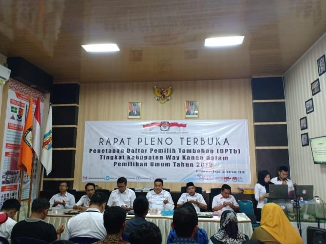 KPU Way Kanan Gelar Rapat Pleno Daftar Pemilih Tambahan
