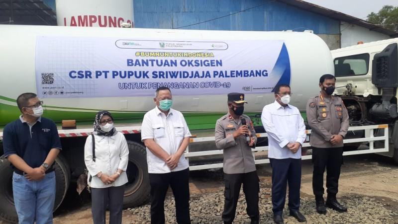 Lagi, Polda Lampung Terima Bantuan 10 Ton Oksigen Cair dari Pusri