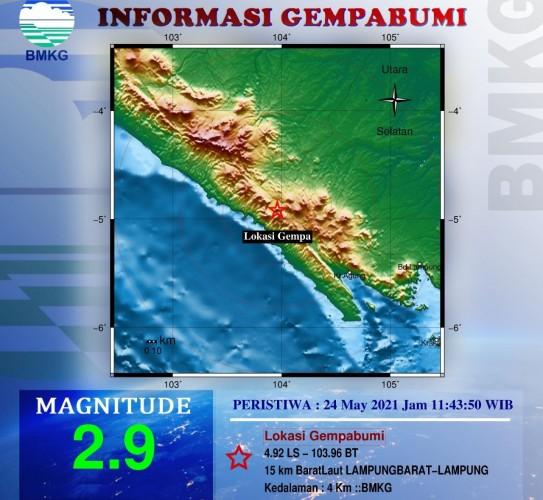Lampung Barat Diguncang Gempa Magnitudo 2,9