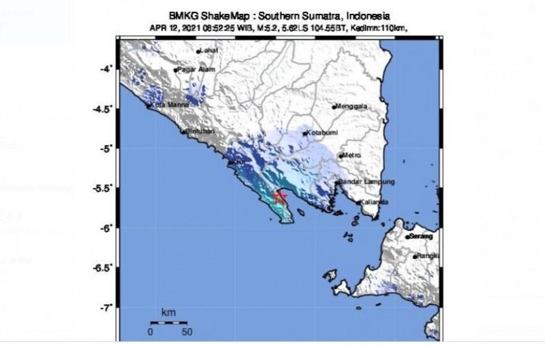 Lampung Diguncang Gempa Magnitudo 5,2