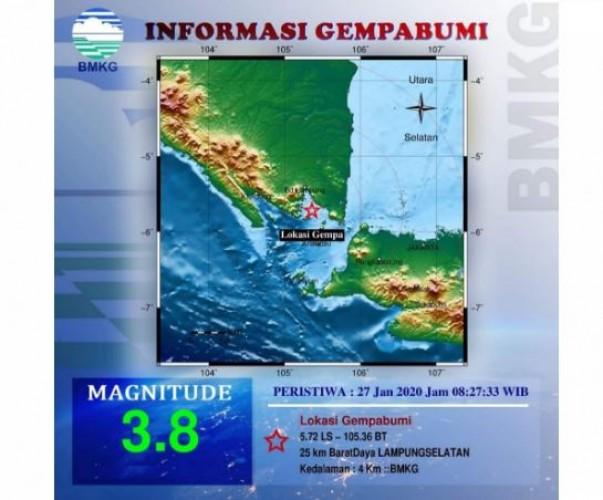 Lampung Selatan Diguncang Gempa Bermagnitudo 3,8