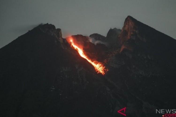 Lava Pijar Gunung Merapi Meluncur ke Kali Gendol