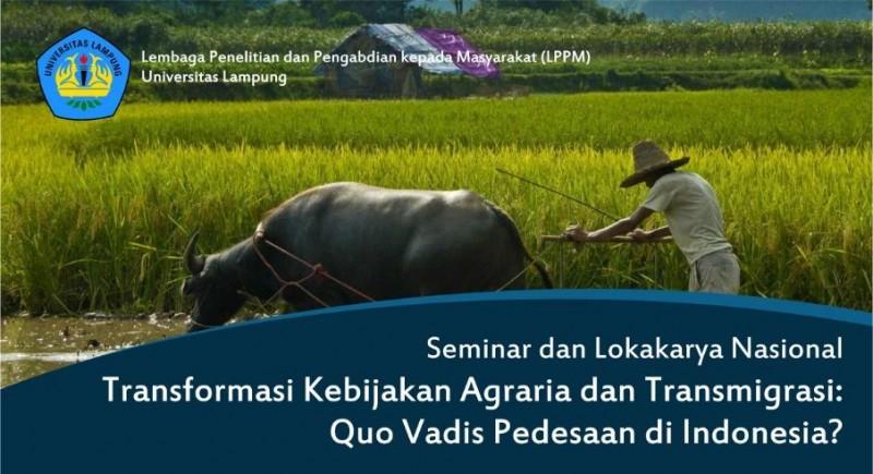 LPPM Unila Gelar Seminar Transformasi Kebijakan Agraria dan Transmigras