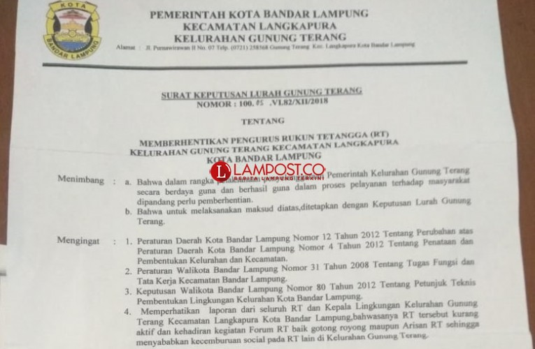Lurah Gunungterang Sebut Ketua RT 05 Dipecat Karena Tidak Aktif