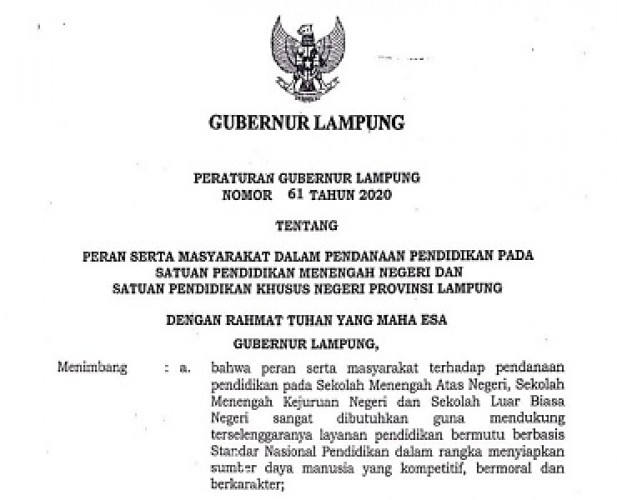 Masyarakat Diminta Berperan dalam Pendanaan Pendidikan di Lampung