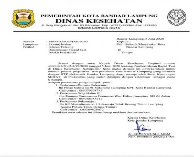 Pemkot Bandar Lampung Gratiskan Rapid Test Begini Cara Mengurusnya