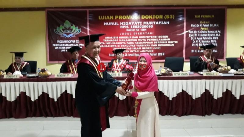 Nurul Hidayati Jadi Doktor ke 64 UIN Raden Intan Lampung