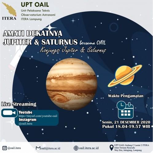 OAIL Itera Amati Fenomena Langka Konjungsi Jupiter-Saturnus Malam Ini