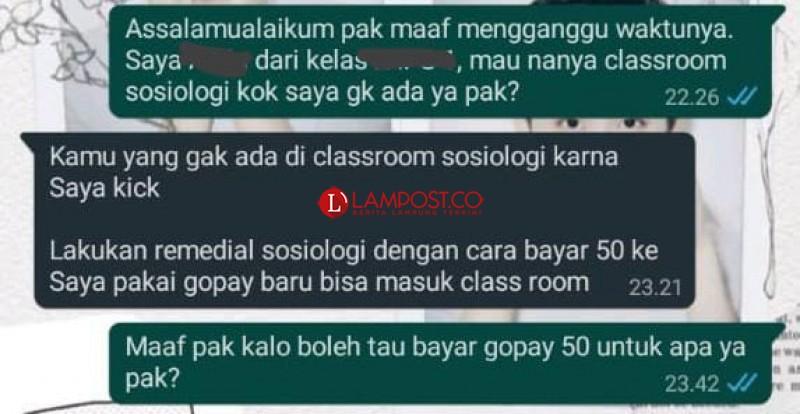 Oknum Guru SMA Gajah Mada Diduga Peras Uang Murid untuk Pengganti Remedial