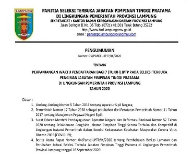 Pansel Memperpanjang Pendaftaran 7JPTP