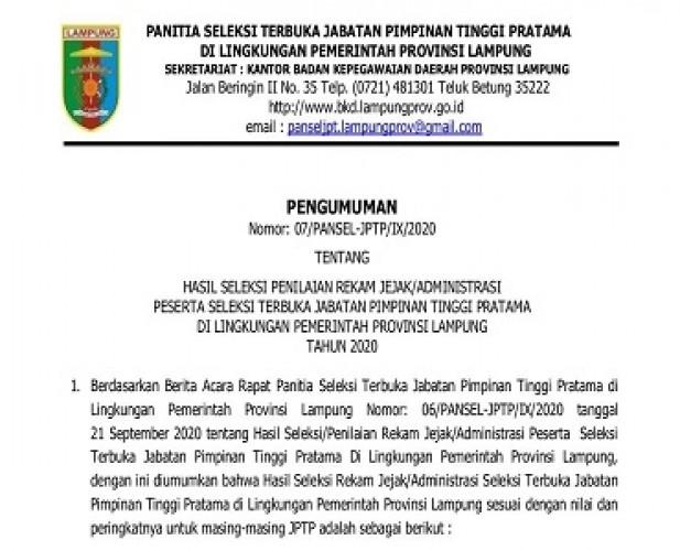 Pansel Tunda Seleksi 2 Formasi JPTP Pemprov karena Tak Penuhi Syarat