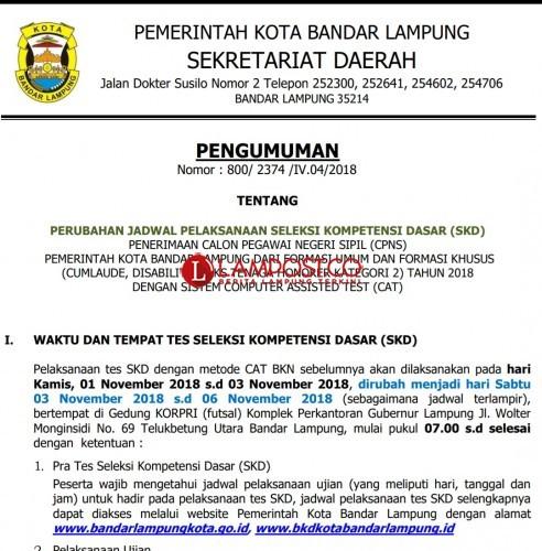 Pelaksanaan Tes CPNS Kota Bandar Lampung Berubah, Ini Jadwalnya