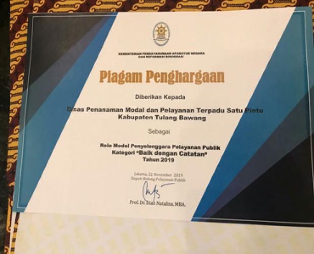 Pelayanan Publik Tuba Diganjar Penghargaan Kemen PAN-RB