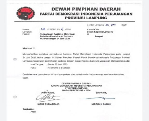 Pembakaran Bendera, PDIP Lampung Audiensi dengan Kapolda