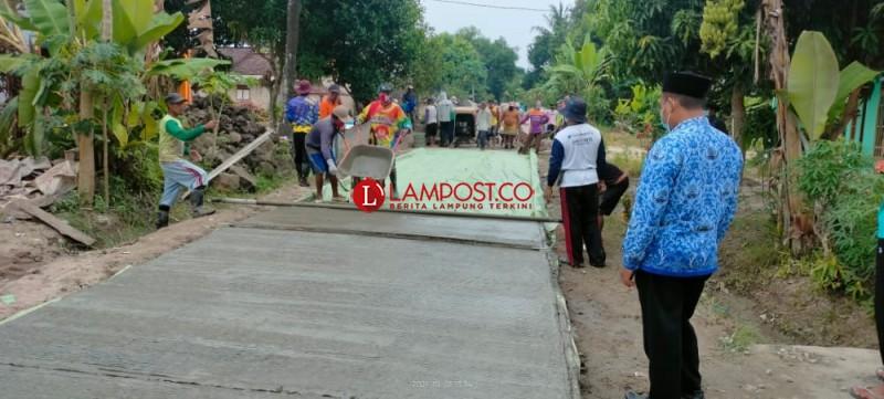 Pemdes Sumbersari Bangun Jalan Cor Beton, Serap Tenaga Kerja Warga setempat