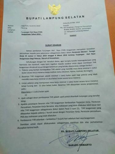 Pemkab Lamsel Ingatkan Perusahaan untuk Bayarkan THR, Besok Surat Edaran Dilayangkan