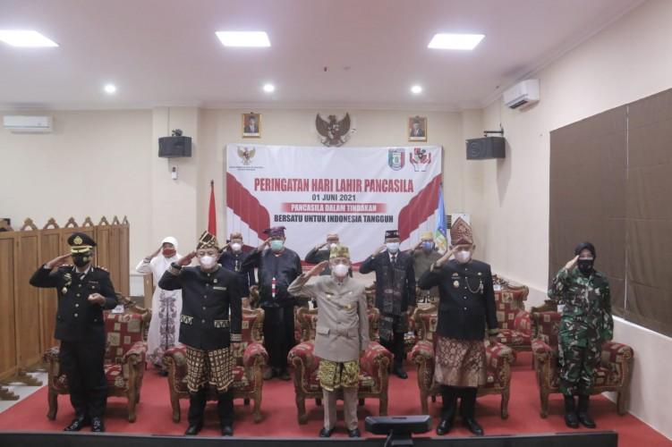 Pemkab Pringsewu Ikuti Upacara Virtual Hari Pancasila bareng Presiden Jokowi