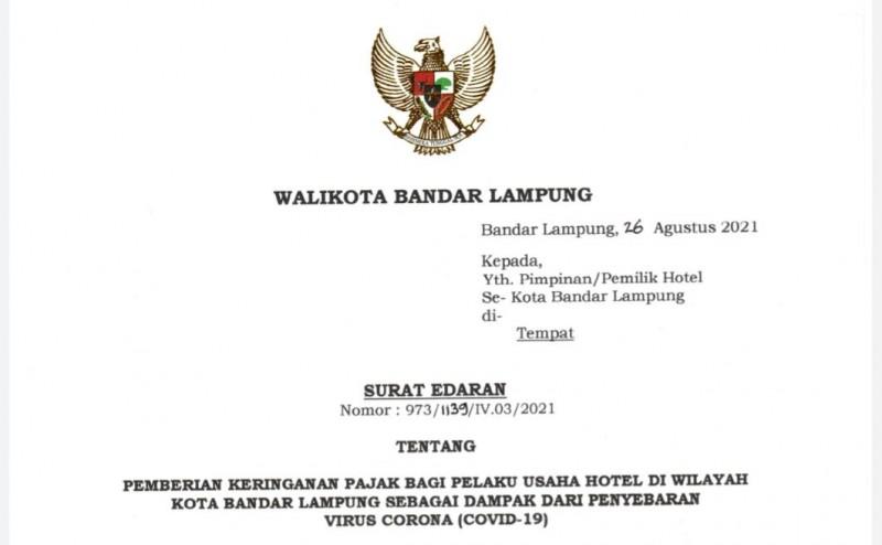 Pemkot Bandar Lampung Diskon Pajak Perhotelan 20 Persen