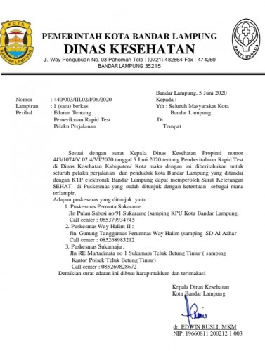 Pemkot Bandar Lampung Gratiskan <i>Rapid Test</i>, Begini Cara Mengurusnya