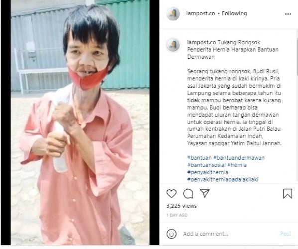Pemkot Janji Bantu Pemulung Penderita Hernia di Bandar Lampung