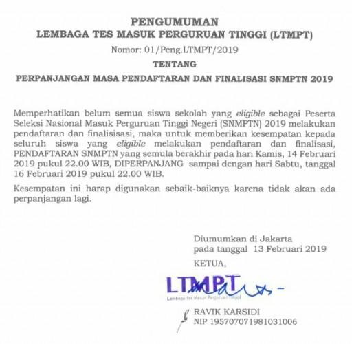 Pendaftaran SNMPTN di Perpanjang Dua Hari