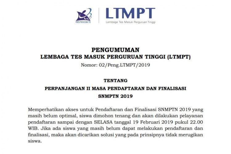Pendaftaran SNMPTN Kembali di Perpanjang Sampai Selasa